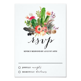 Boho Watercolor Succulents Wedding RSVP Card