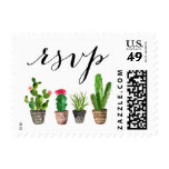 Boho Watercolor Succulents Wedding RSVP Postage