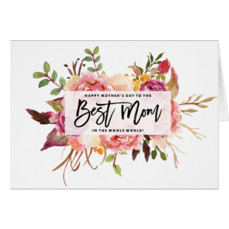 Boho Watercolour Floral Bouquet Photo Mother's Day Card