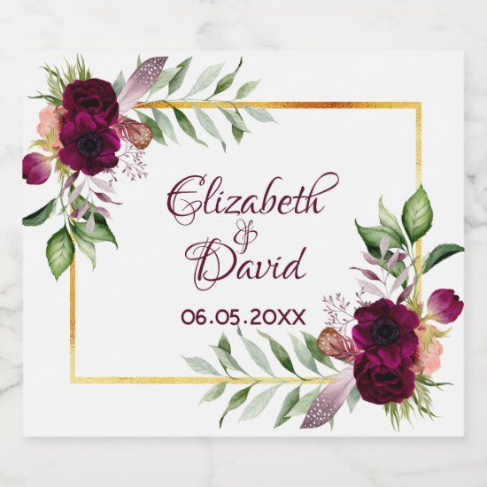 Boho wedding burgundy floral gold white champagne label