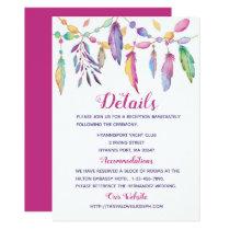 Boho Wedding Details Feathers Purple Indian Invitation