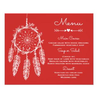 Boho Wedding Menu Red Tribal Dream Catcher