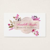 Boho wedding planner Vintage Floral business cards