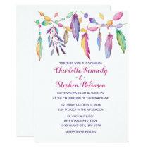 Boho Wedding Purple Feather Native American Indian Invitation