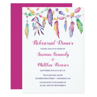Boho Wedding Rehearsal Dinner Feathers Purple Invitation