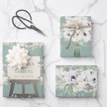 """Boho Wedding Sage Watercolor Floral Bridal Shower Wrapping Paper Sheets<br><div class=""""desc"""">A truly charming design for her special day! A simply dreamy design of a gorgeous assortment of magnolias, anemones, eucalyptus and foliage. It definitely has a country romance sort of vibe. Beautiful shades of soft violets and lavenders with touches of mint green blend together elegantly and really pop against a...</div>"""