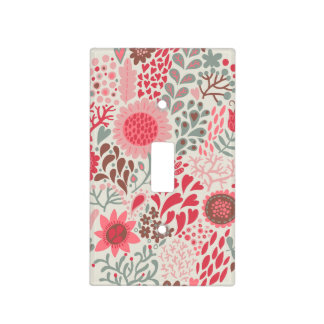 Boho Whimsical Pink Doodle Floral Light Cover Light Switch Plate