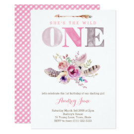 Boho Wild ONE First Birthday Invites for Girl