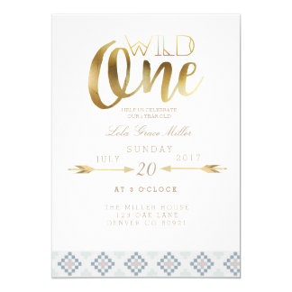 Boho Wild One | First Birthday Party Card