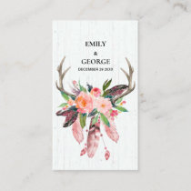 BOHO WOOD FLORAL FEATHER ANTLER WEDDING THANK YOU BUSINESS CARD