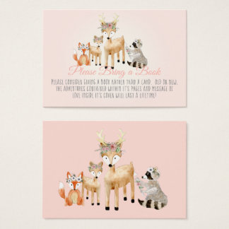 Boho Woodland Deer Raccoon Fox Book Instead Card