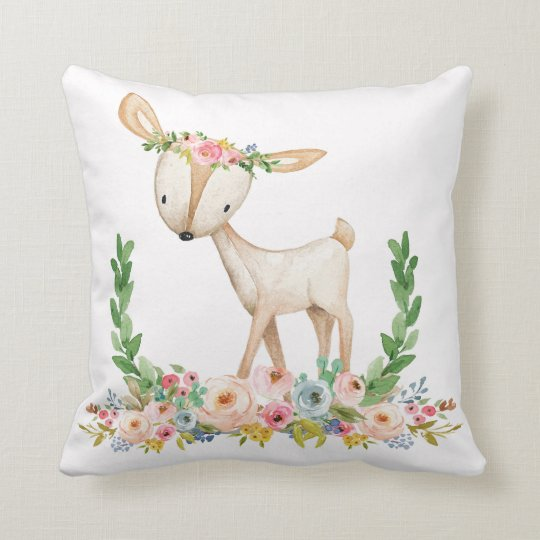 Boho Woodland Fl Deer Baby Nursery Pillow