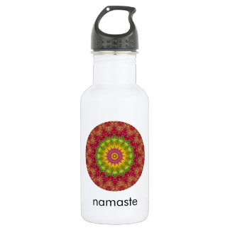 Boho Yellow, Magenta and Green Mandala Art Namaste Water Bottle