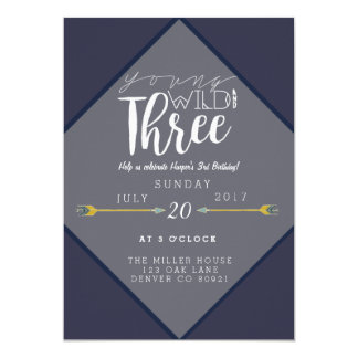 Boho Young Wild & Three | 3rd Birthday Party Card