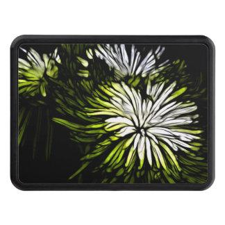 Boho Zen floral Lime green white Chrysanthemum Trailer Hitch Cover