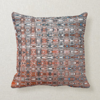 Boho Zigzag Millefiori Orange Navy Blue Abstract Throw Pillow
