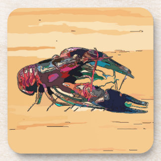 Boiled Crawfish on Wood Coaster