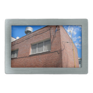 Boiler house with a gas pipe rectangular belt buckle