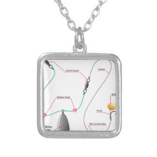 Boilie setup diagram for Carp fishing Square Pendant Necklace