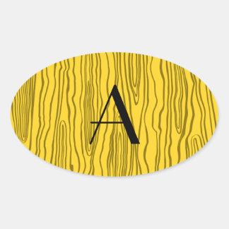 Bois amarillos del monograma falsos pegatinas de óval