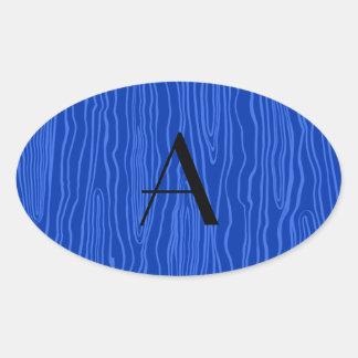 Bois azules del monograma falsos calcomania de oval