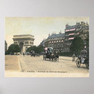 Bois de Boulogne del du de la avenida, vintage de Póster