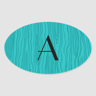 Bois de la turquesa del monograma falsos pegatinas ovales