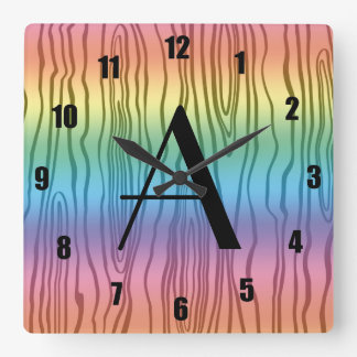 Bois del arco iris del monograma falsos relojes de pared