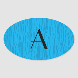 Bois del azul de cielo del monograma falsos pegatina oval
