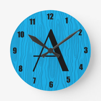 Bois del azul de cielo del monograma falsos reloj de pared
