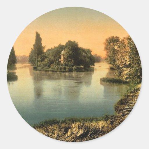 Bois du Boulougne (es decir, Boulogne), el lago, P Pegatina