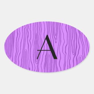Bois púrpuras en colores pastel del monograma calcomanías de ovaladas