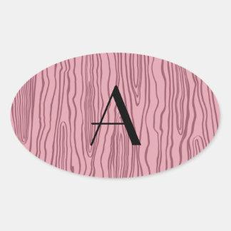 Bois rosados bonitos del monograma falsos pegatina de oval personalizadas
