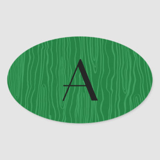 Bois verdes del monograma falsos colcomanias oval