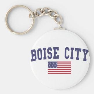 Boise City US Flag Keychain