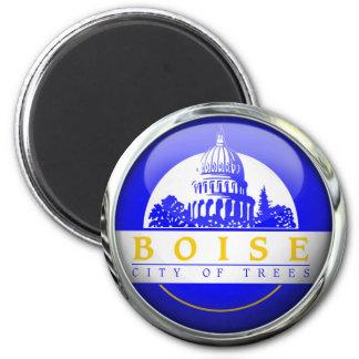 Boise Flag Glass Ball 2 Inch Round Magnet