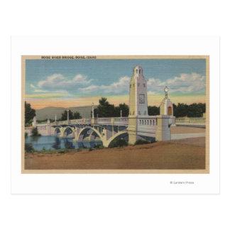 Boise, ID - View of Boise River Bridge Postcard