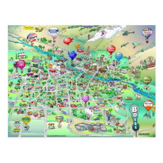 Boise Idaho Cartoon Map Postcard