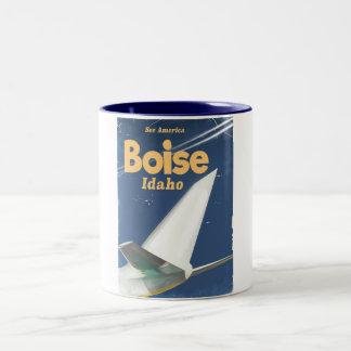 Boise Idaho flight poster Two-Tone Coffee Mug