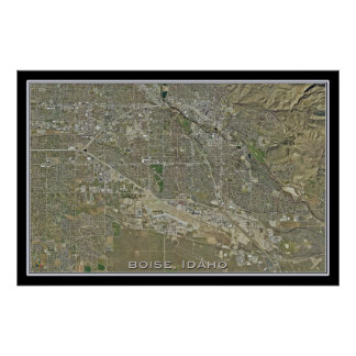 Boise Idaho From Space Satellite Art Poster