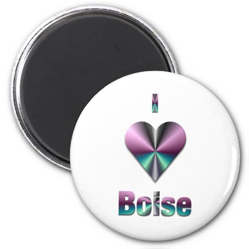 Boise -- Purple & Turquoise 2 Inch Round Magnet