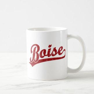 Boise script logo in red coffee mug