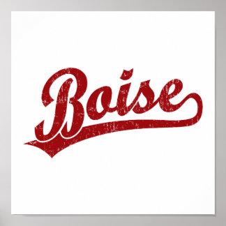 Boise script logo in red poster