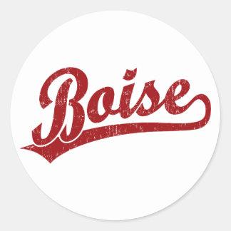 Boise script logo in red round stickers