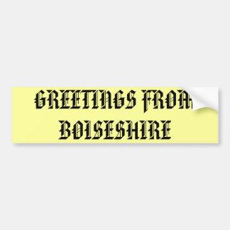Boiseshire, el pegatina etiqueta de parachoque