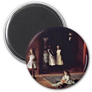 Boit Daughters By Sargent John Singer 2 Inch Round Magnet