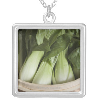 Bok choy silver plated necklace