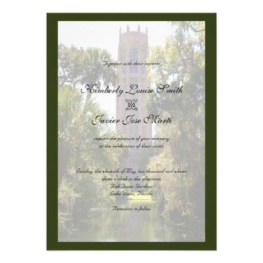 Bok Tower Wedding Personalized Announcements
