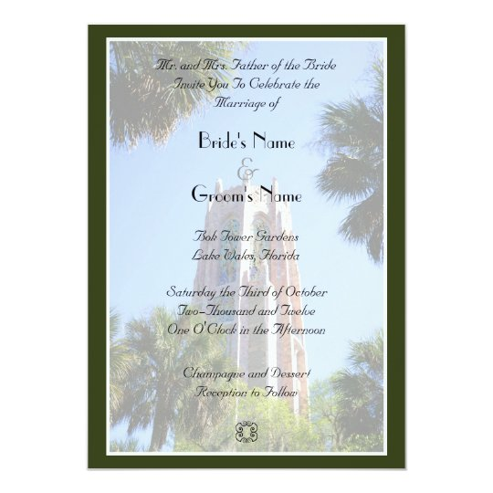 Bok Tower Wedding, personalized Card