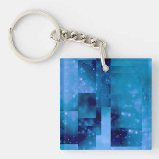 Bokeh 01, azul llavero cuadrado acrílico a doble cara